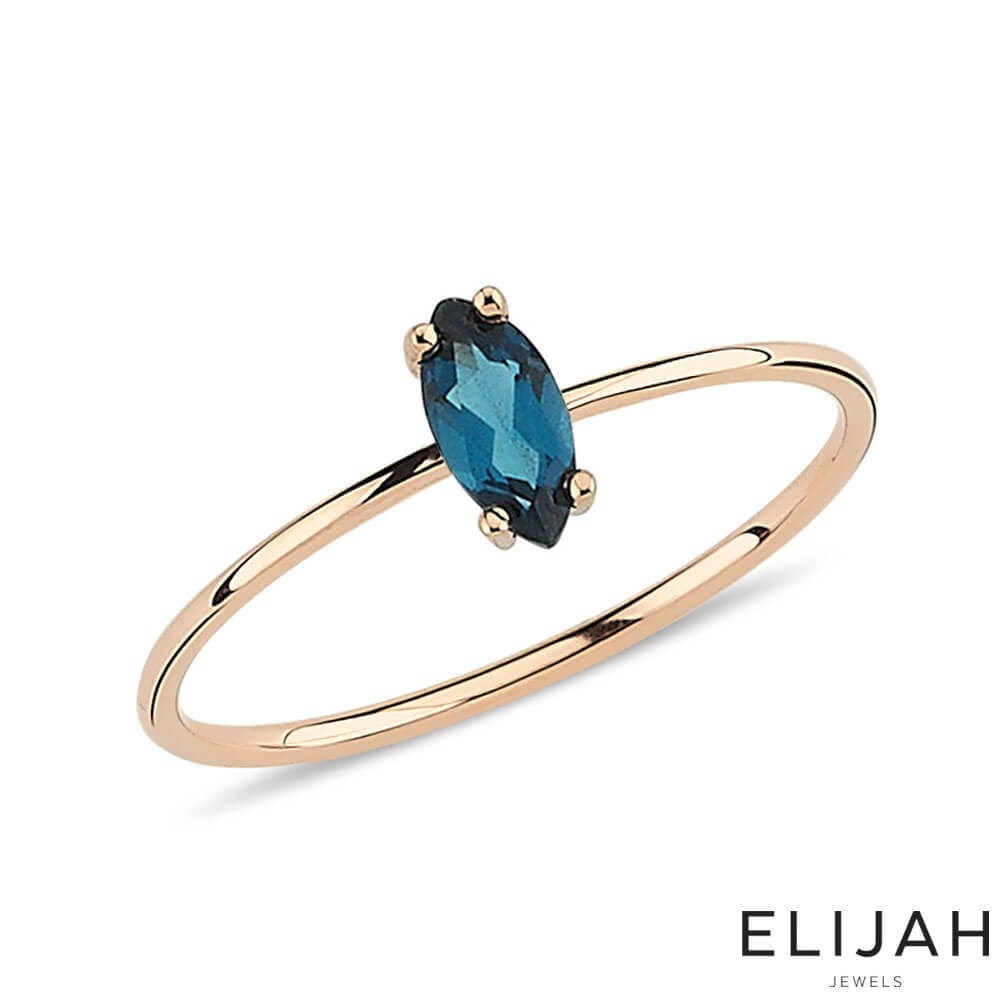 Markiz London Blue Topaz Yüzük